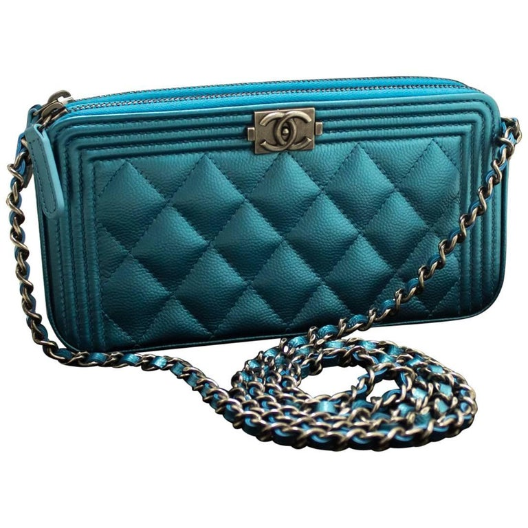 4f6099669aeb45 Chanel Boy Metallic Blue Caviar Wallet On Chain WOC Clutch Bag For Sale
