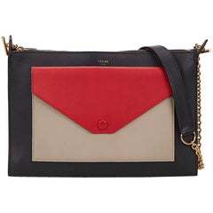 Celine Black Tricolor Zip Envelope Shoulder Bag