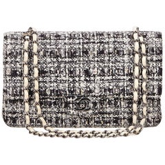 Chanel Gray Tweed Classic Medium Double Flap Bag