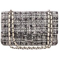 Chanel Gray Tweed Classic Medium Double Flap Bag
