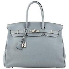 Hermes Birkin Handbag Ciel Togo with Palladium Hardware 35