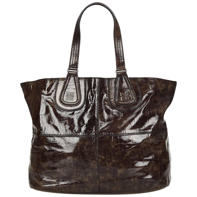 Givenchy Brown Patent Nightingale Tote