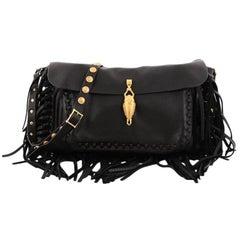 Valentino C-Rockee Scarab Fringe Shoulder Bag Leather Medium