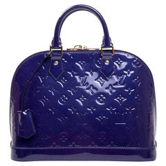LOUIS VUITTON 'Alma' Bag Small Model in Purple Embossed Monogram Patent Leather