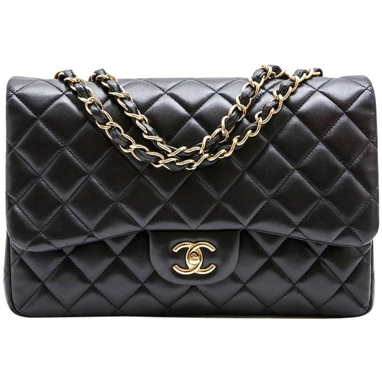 CHANEL 'Jumbo' Bag in Black Quilted Smooth Lamb Leather