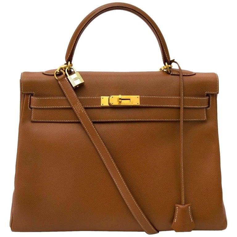 Hermès Kelly 35 Courchevel Gold GHW Bag