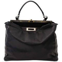 Fendi Black Goatskin Peekaboo Bag