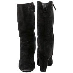 CHANEL Boots in Black Velvet Calfskin Size 36.5C