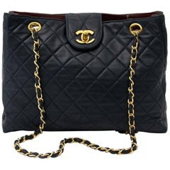 Chanel Vintage Dark Blue Lambskin Shoulder Bag