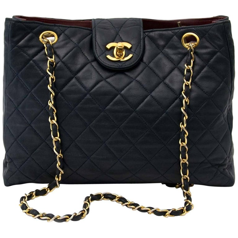 Chanel Vintage Dark Blue Lambskin Shoulder Bag
