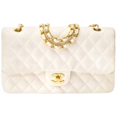 Chanel White Lambskin Medium Classic Double Flap Bag