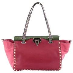 Valentino Colorblock Rockstud Tote Soft Leather Small
