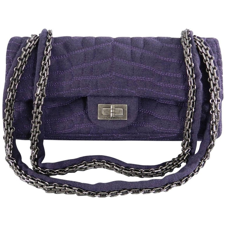 Chanel 07a Purple Knit Fabric Reissue East West Flap Bag For Sale At
