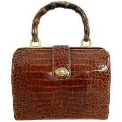 Gucci Vintage Cognac Crocodile Doctor Bag with Bamboo Handle