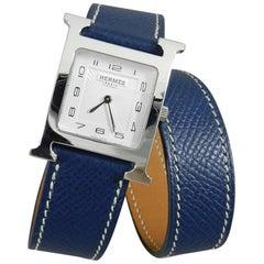 Hermes Stainless steel H Heure Double Tour Medium Epsom Blue quartz Wristwatch