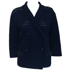 Louis Vuitton Blue Knit Double Breasted Jacket With 2 Bucket Pockets