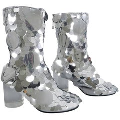 Maison Margiela Silver Metallic Paillette Leather Ankle Boots, SS17
