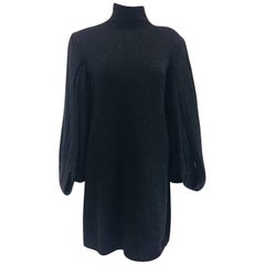Chanel Charcoal Long Open Sleeve Knit Cashmere Sweater Dress