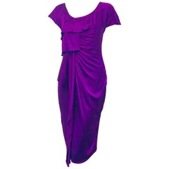 Versatile Versace Purple Draped Short Sleeve Silk Dress