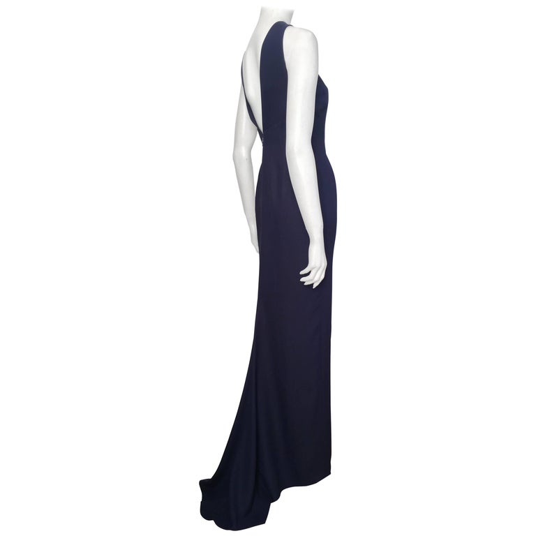 Bill Blass for Neiman Marcus Navy Silk Crepe Gown with Train, 1980s ...