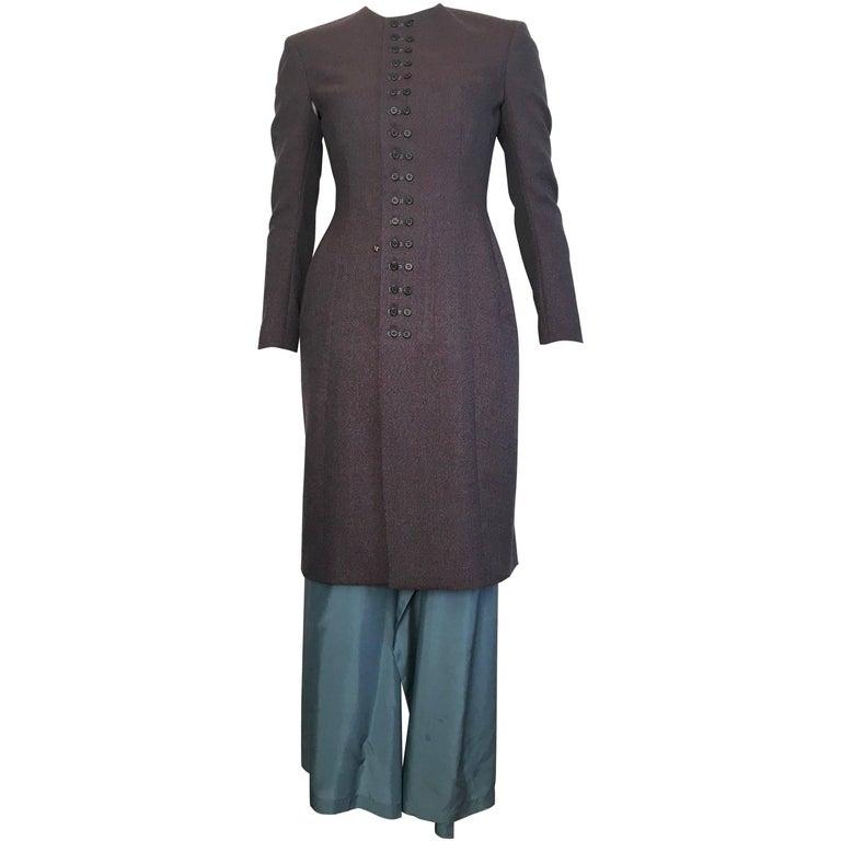 Yohji Yamamoto 1980s Wool Jacket Dress with Detachable Silk Skirt Size 6.