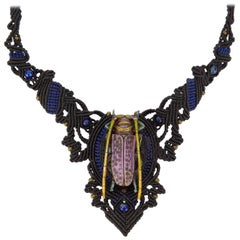 Carved Beetle set on Intricately Hand Knotted Neckpiece Statement Necklace