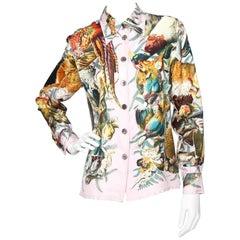 "A 1980s Vintage Hermès ""Nature Morte"" Vintage Silk Twill Shirt S"