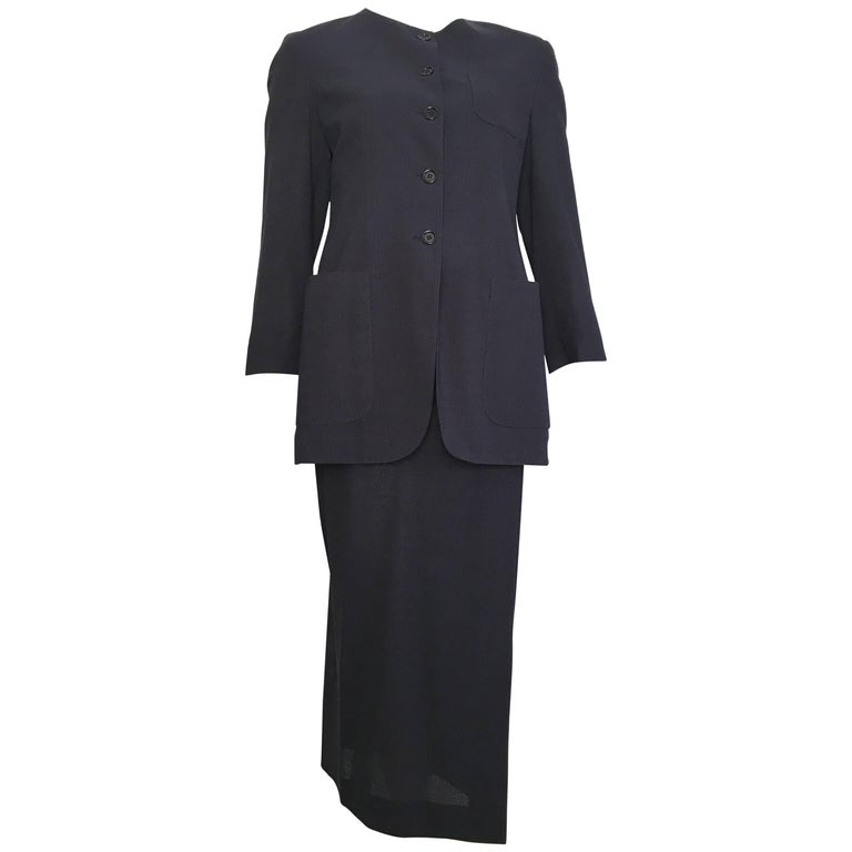 Romeo Gigli 1980s Wool Navy Jacket & Wrap Skirt Suit Size 6.