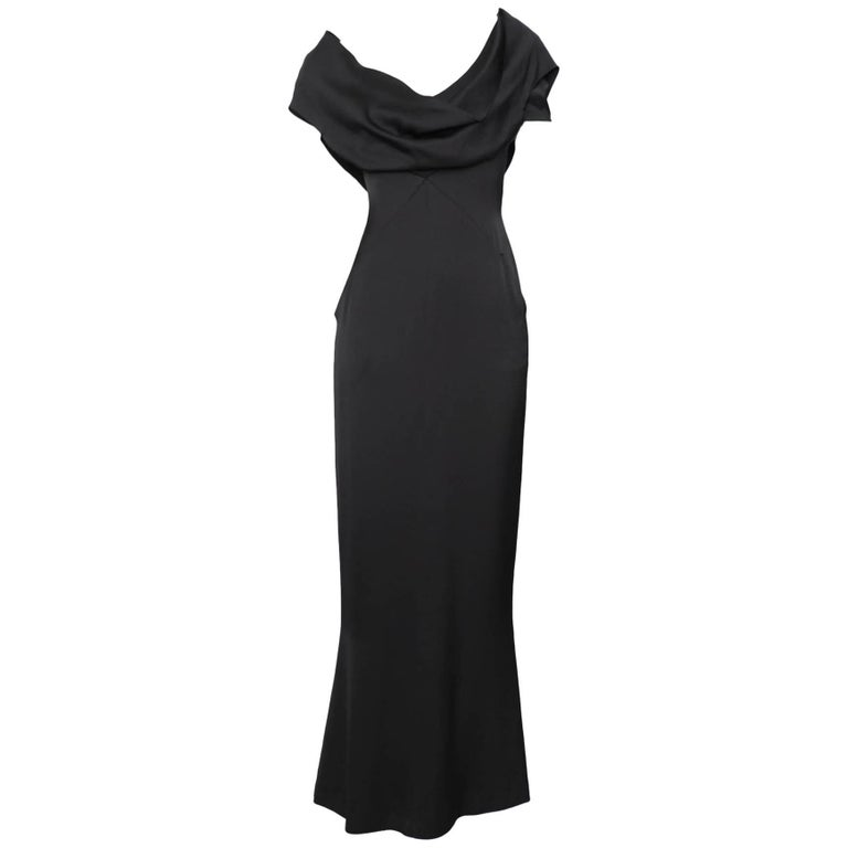A 1990s Vintage Black Silk Satin Chanel Evening Dress M