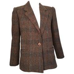 Oscar de la Renta 1970s Wool Herringbone Jacket Size 6.