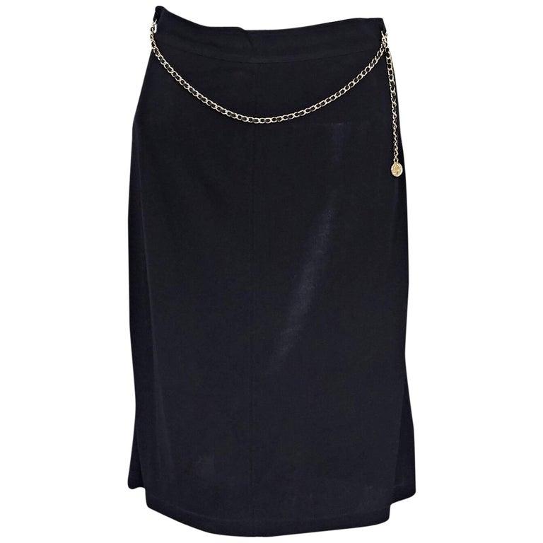 Chanel Vintage Black Pencil Skirt