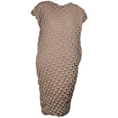 Issey Miyake Tan Textured Shift Dress