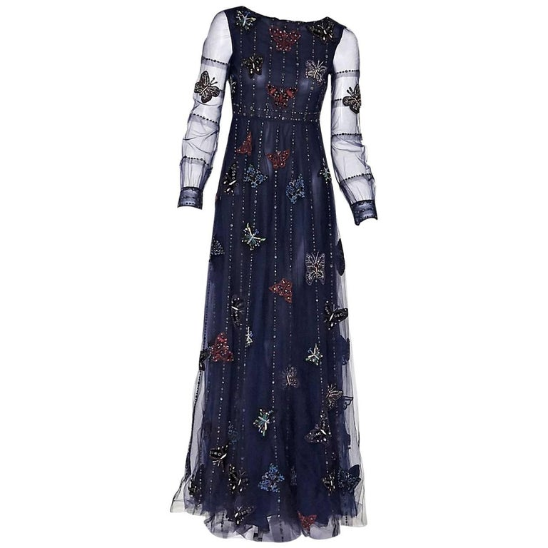 Valentino Navy Blue Butterfly Beaded Gown