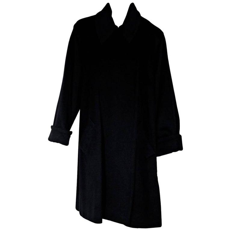 Celine Black Cashmere and Wool Blend Coat