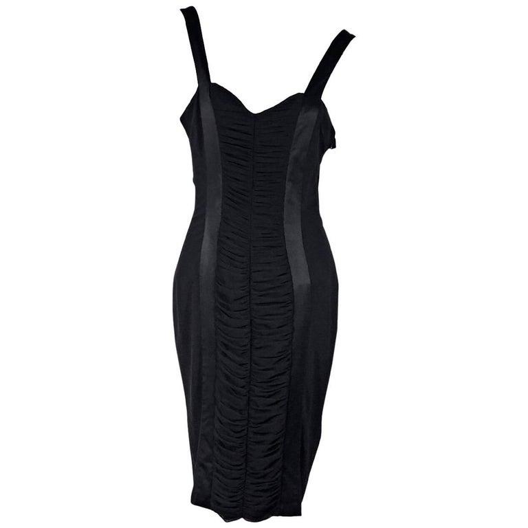 Blumarine Black Ruched Sheath Dress
