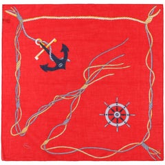GUCCI c.1980's Red Nautical Anchor Rope Print Square Cotton Scarf