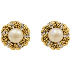Chanel Vintage Gold Tone Faux Pearl & Crystal Clip Earrings  1980s