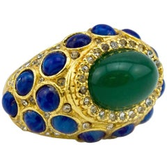 1970s Kenneth Jay Lane Cocktail Ring with Green and Blue Cabochon Stones