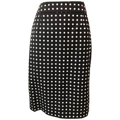 Yves St. Laurent Black Polka Dot Pencil Skirt
