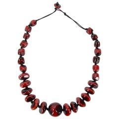 Chunky Lustrous Faux Coral Resin Beads Statement Necklace
