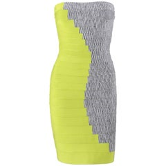 HERVE LEGER Resort 2010 Two Tone BodyCon Bandage Strapless Tube Cocktail Dress