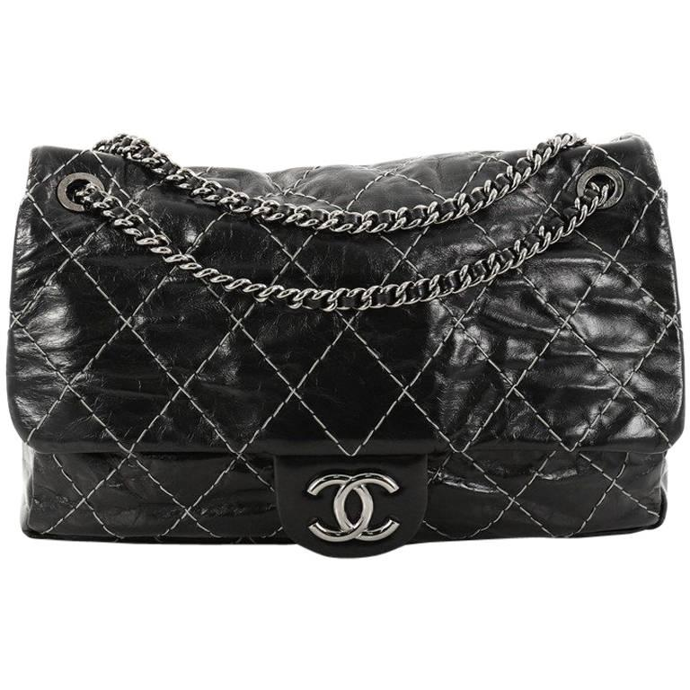 8cc778f94b32 Chanel Double Stitch Flap Bag Quilted Glazed Calfskin Large at 1stdibs