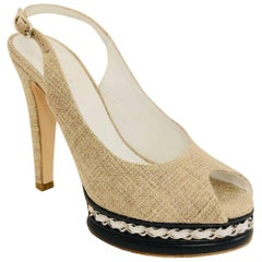 Cruising With Chanel Taupe Canvas Sling Back Chain Platform Shoes