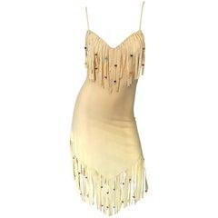 Amazing 1970s Faux Suede Beaded + Feathers Tan Nude Fringe Scarf Hem Boho Dress