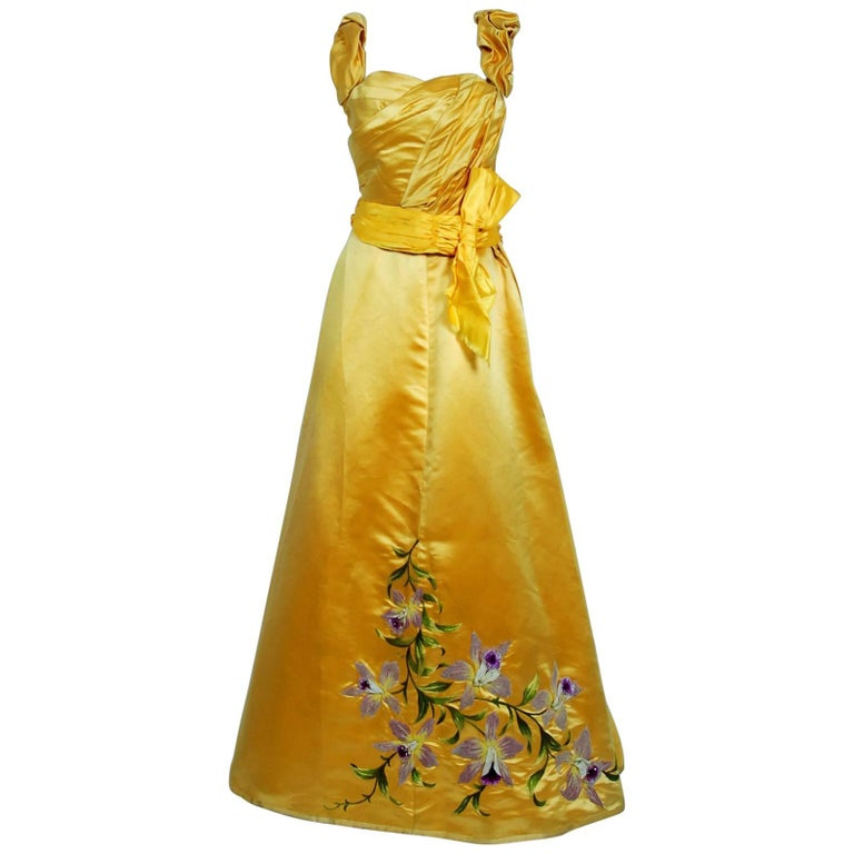 1895 Mme Arnaud French Couture Victorian Floral Embroidered Yellow ...