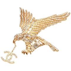 Chanel Vintage Gold Crystal Eagle Dangle CC Brooch