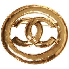 Chanel Gold Encircled CC Brooch