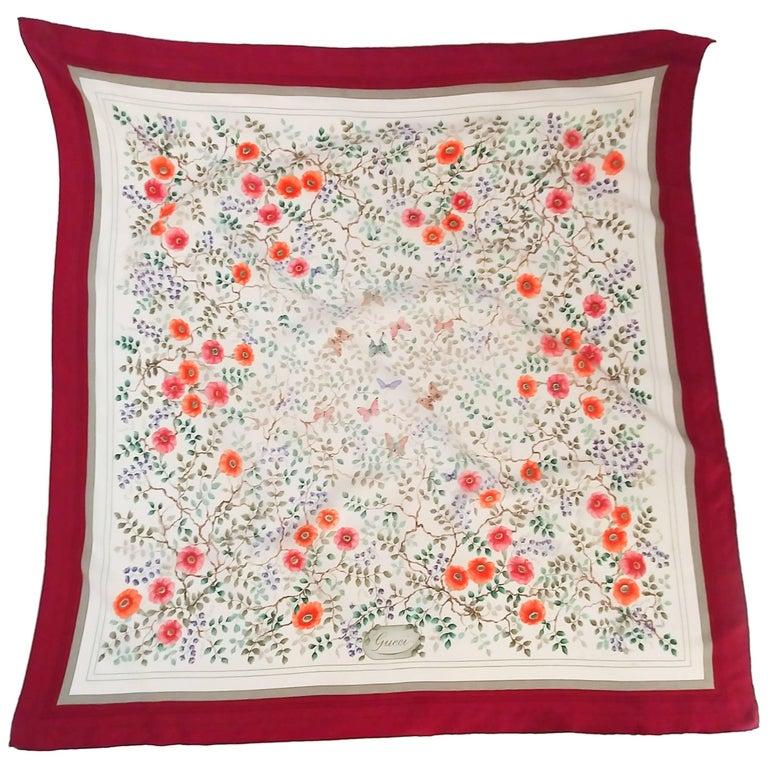 Gucci Floral Print Silk Scarf, 1970s