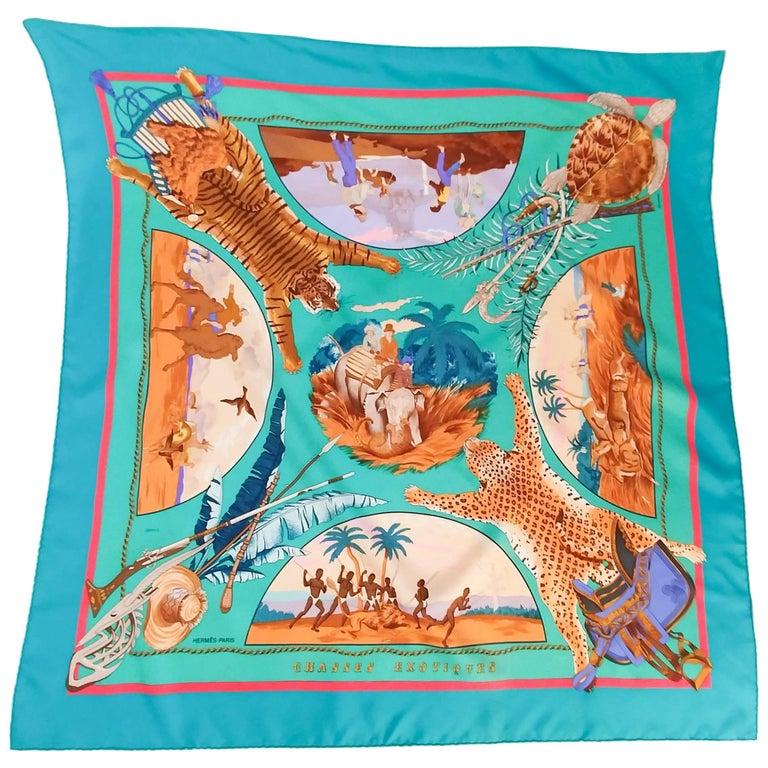 Hermes Colonial Romanticism Silk Print Scarf, 1980s