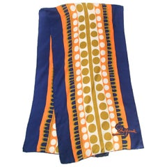 Schiaparelli Geometric Blue & Orange Print Scarf, 1960s
